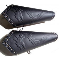 Black Dragon Hand Greaves - LEATHER ARMOUR