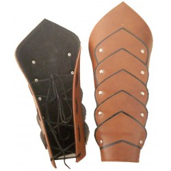 Warrior Hand Greaves - BROWN LEATHER ARMOUR