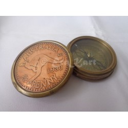 Brass Australia Penny Pocket Compass