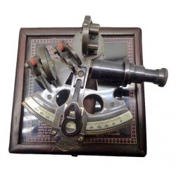 Brass Sextant 3'' W Wooden Box
