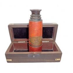 Brass Telescope W Wooden Box 16''
