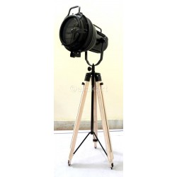 Vintage Industrial Spotlight On Wooden Tripod