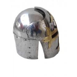 MLTEH-GreeK-Knight-CRUSADERS-HELMET-ARMOR-MASON-BRASS-CROSS-HAT-18-GAGES