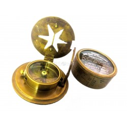 Antique Maritime Brass Pocket Drum Sundial Magnetic Compass With Glass Lid Box