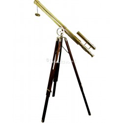 BRASS TELESCOPE Nautical Maritime Vintage Style Mahogony Harbour Master Feature