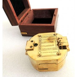 Brass Brunton Compass With Hardwood Box