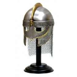King Armor Helmet With Etching And Chain Mail