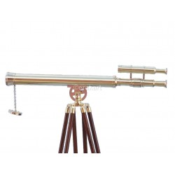 Floor Standing Brass/Wood Harbor Master Telescope