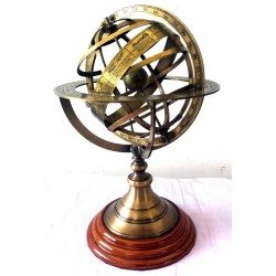Antique Nautical Brass Armillary Horoscope World Globe