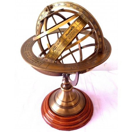 Antique Nautical Brass Armillary Globe