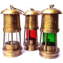Brass Miner Lamp T Light Lantern Set