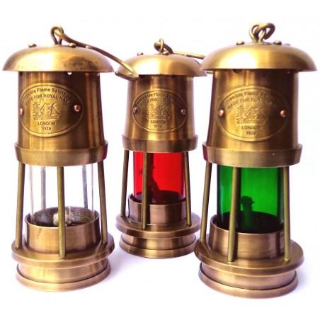 Brass Miner Lamp T Light Lantern Set