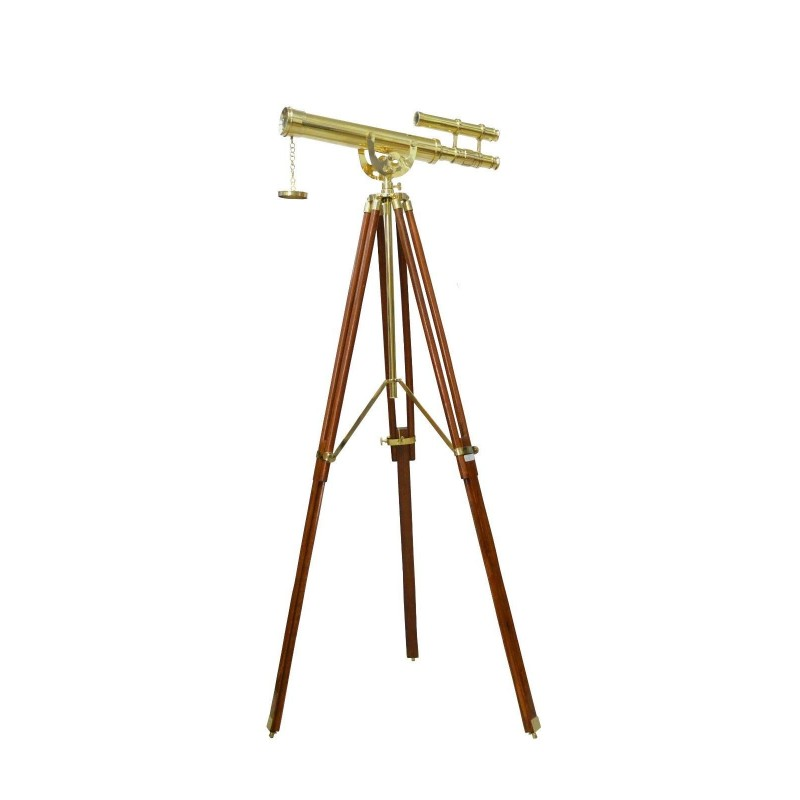 Nautical Brass Telescope Double Barrel With Large Tripod Stand