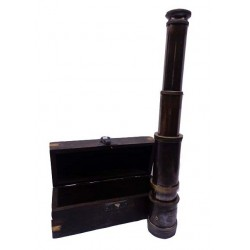 Antique Brass Spyglass Telescope With Wooden Box